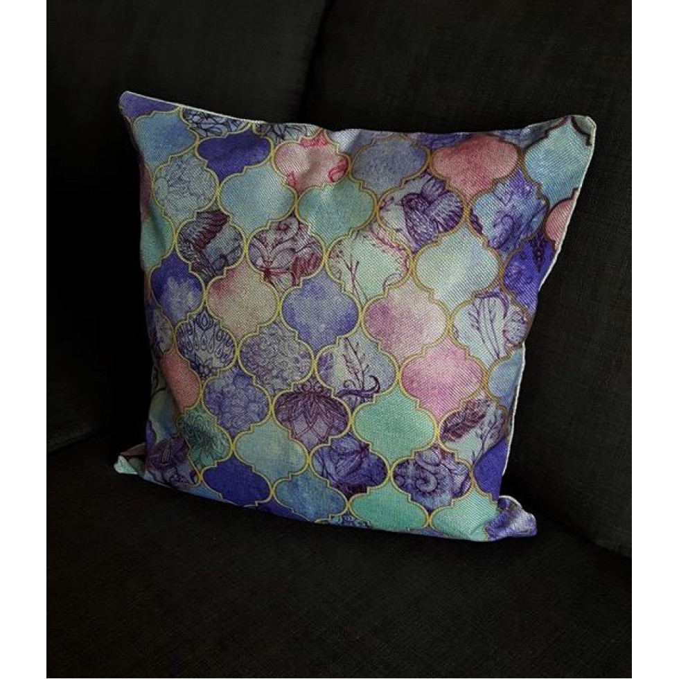 coussins tissu coton lin mosaique. Black Bedroom Furniture Sets. Home Design Ideas